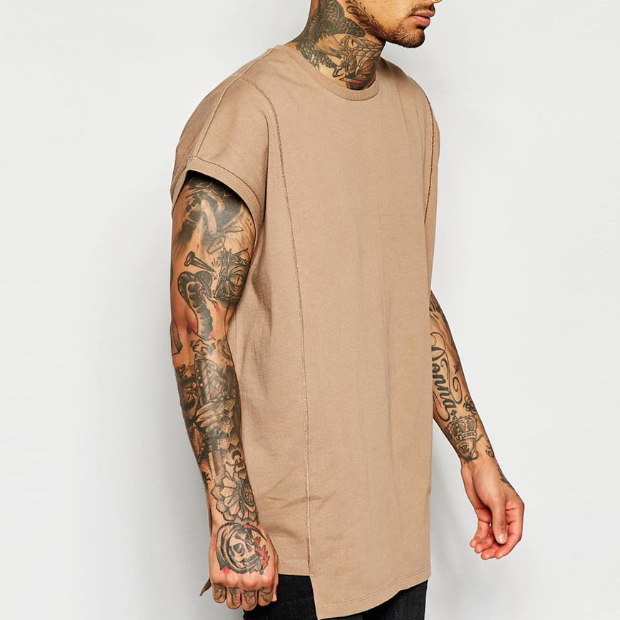 Super Oversized T-Shirt In Heavyweight Jersey With Seam Detail In Sand