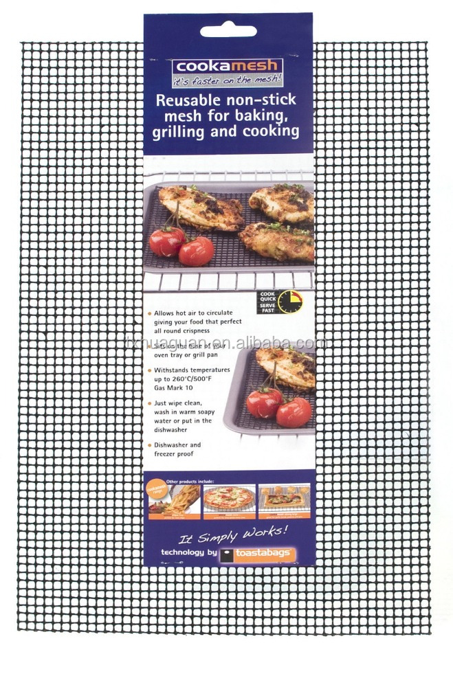 PTFE Non-stick Oven Cooking Grid baking Mesh Mat Reusable Cooking Mesh Tray