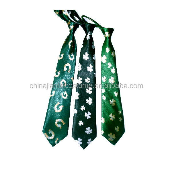 Factory Sales Irish Festival or Party Tie Green Color Satin Material Polyester Tie for St Patrick's Day