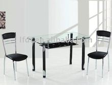 modern design temperend galss and stainless steel dining table in china