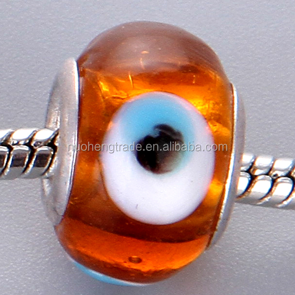 Large Hole Evil eye silver plated core lampwork glass beads for bracelets Jewelry