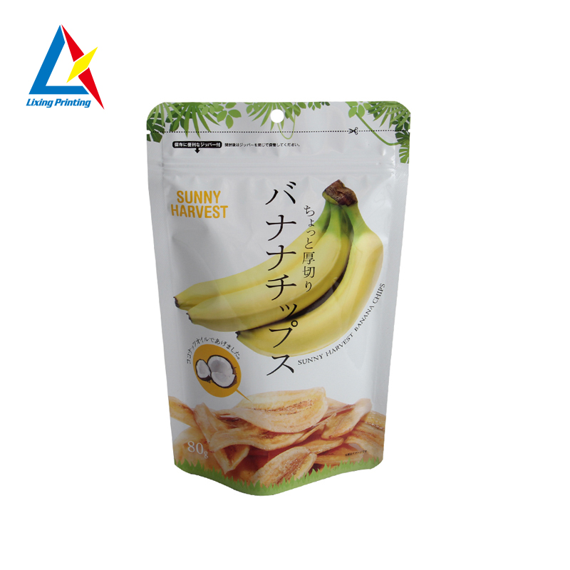 LIXING PACKAGING snack banana chips self standing plastic food packaging bag