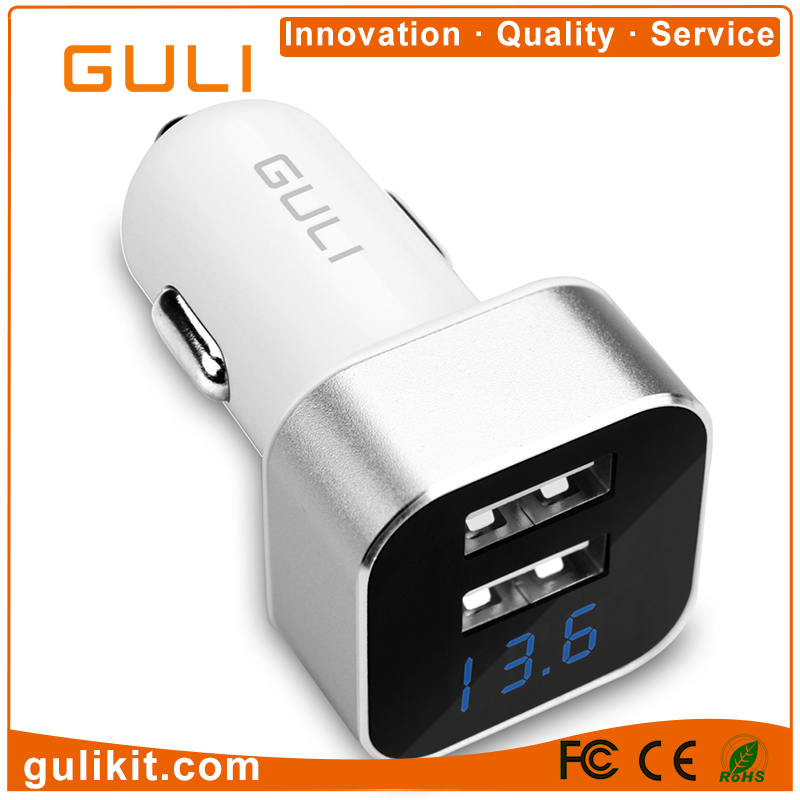 OEM brand dual USB 2 ports car charger 5V 1A 2.1A USB charger adapter with LED lights smart display for iPhone/Android
