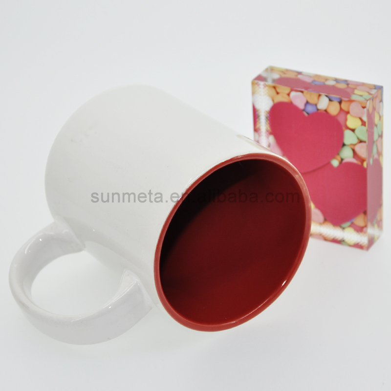 Sunmeta 11oz sublimation inner color mug red