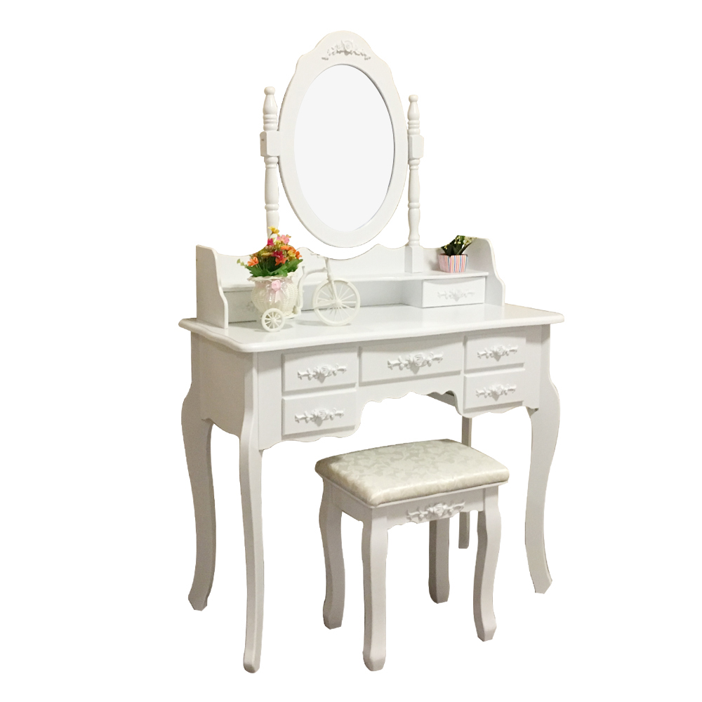 D1703 white wooden modern dresser high quality MDF dressing table with mirror drawer stool
