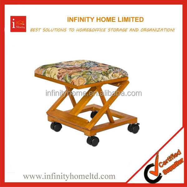 Adjustable Folding Wood Floral Mobile Footrest Stool Footstool On Wheels