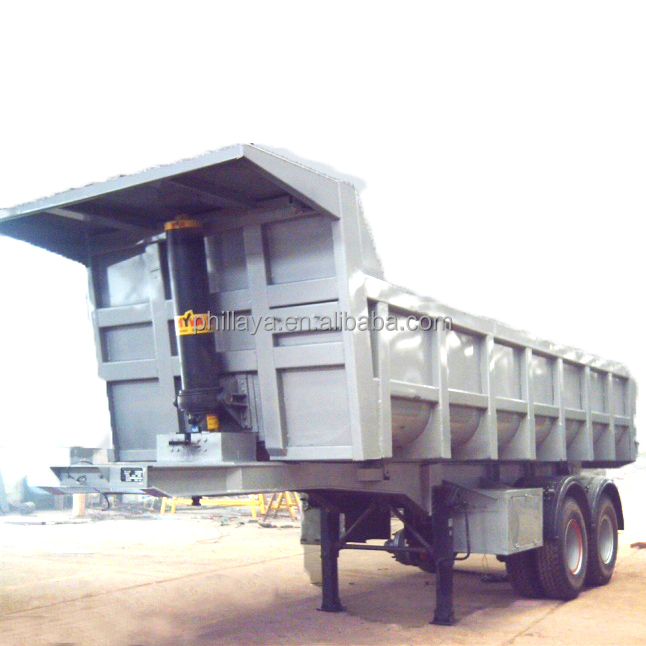 hydraulic cylinder 50 tons <strong>Rear</strong> Dump 3 <strong>axle</strong> tipper semi trailer (side tipping, double dumper optional)