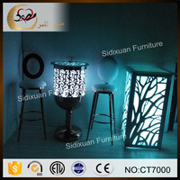 color changing round glass top LED light bar table