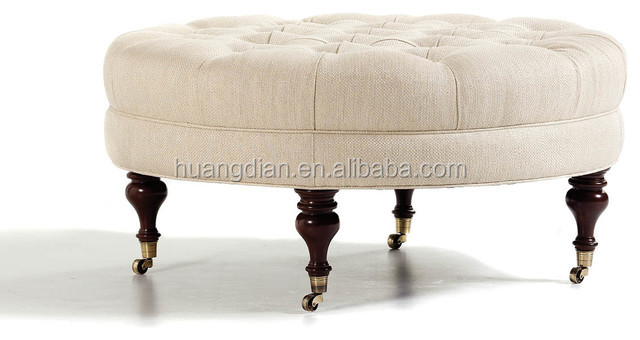 Fabric living room furniture round tufting ottoman