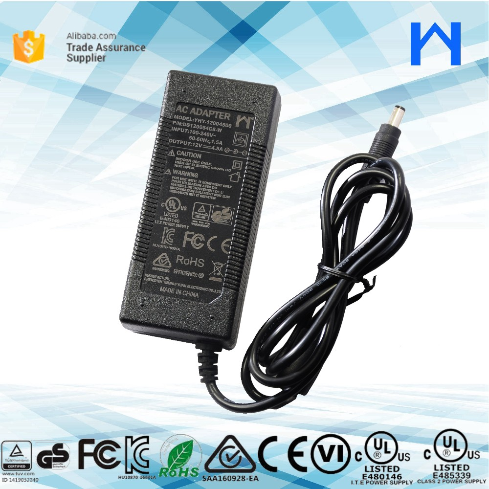 Level 6 UL Class 2 Power Supply 12 volt 4.2 amp power charger ac to dc power adapter 12V 4.5A ul cul approval