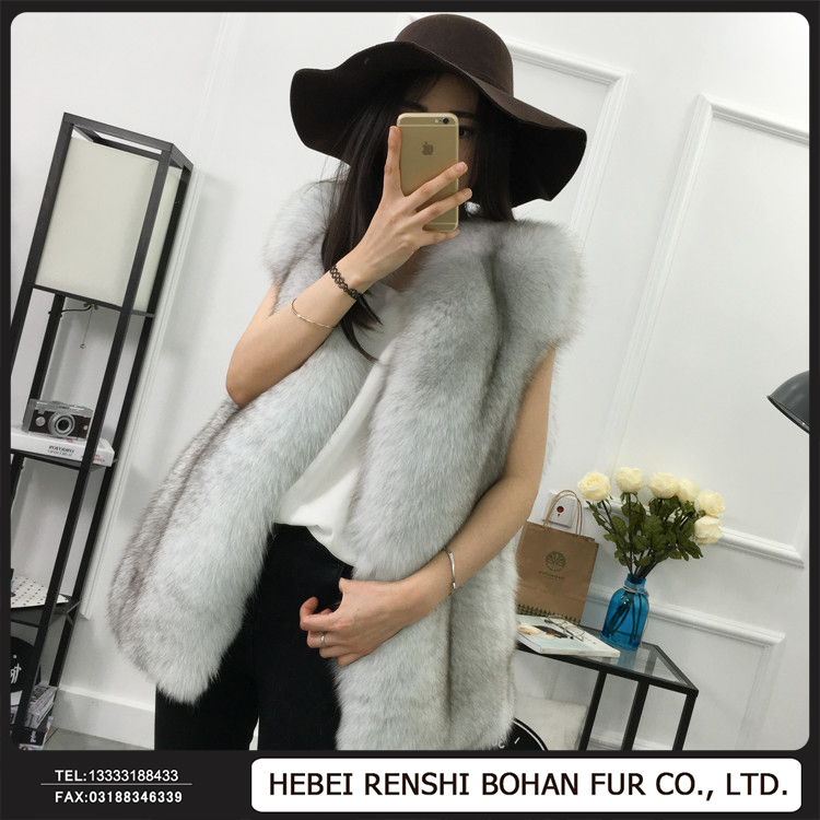 Hot Sale/ Women Knitted Real Fox Mongolian Fur Vest