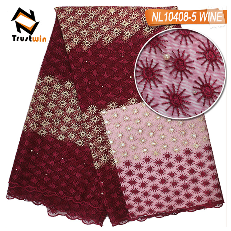 African cheap embroidery tulle lace design with beads