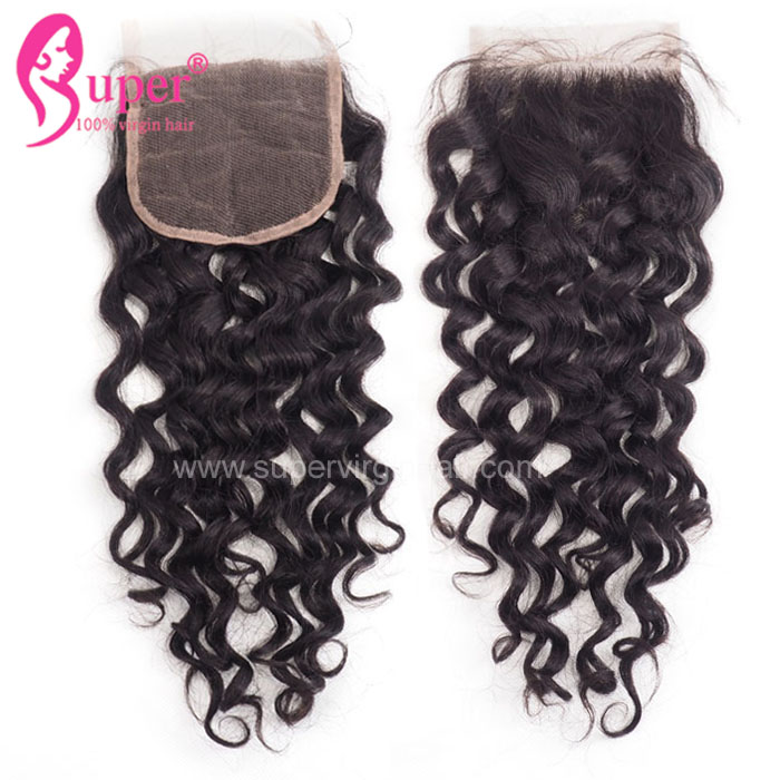 Swiss Lace Jerry Curl Closure ,  4x4 Natural Hairline Brazilian Lace Closure With Baby Hair