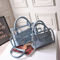Fashion blue elegant female transparent pvc lady handbag 2016