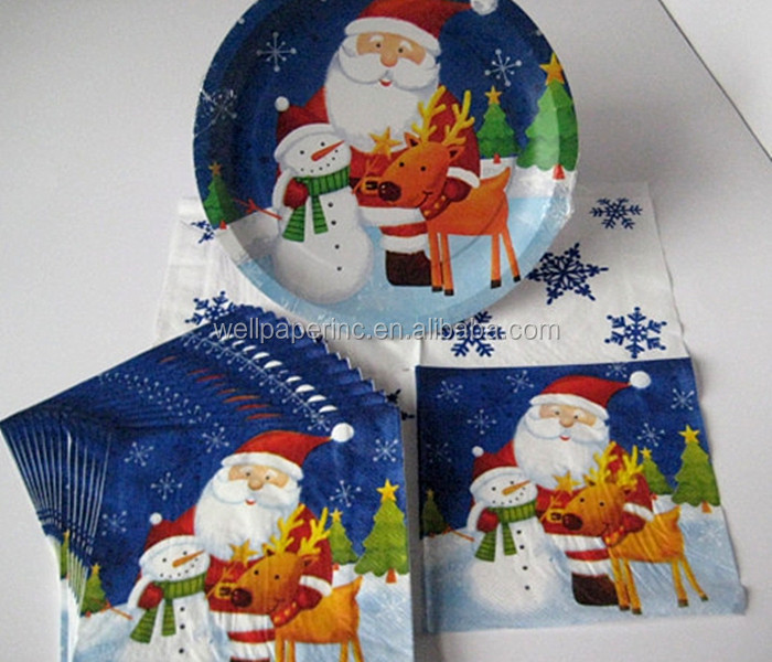 Party sets paper napkins plates cups christmas disposable tableware
