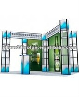 6*6 outdoor trade show booth with spiral tower stands and fabric banner wall easy set up recycling and reuse