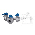 Sanitary Hydraulic actuator types Three way butterfly valve thread end
