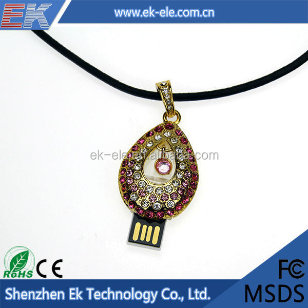 2015 Custom jewelry necklace usb 2gb usb memory stick