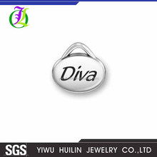 CN184998 Yiwu Huilin Jewelry Silver plated High quality custom letter Diva metal charms pendant