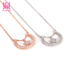 wholesale silver jewelry 925 sterling silver sun moon and star pendant necklace