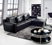 Modern Black Leather Latest Design Hall Sofa Set L Shaped Sofa Set Living Room Furniture Sofa Set