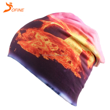 Wholesale Custom OEM Outdoor Sport Dri fit Digital Printing double layers Reversable Headwear Knit fabric cap Beanie hat