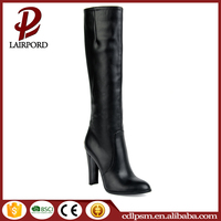 Black PU material knee high tube safety high heel boots for women