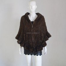 SJ467 Wholesale and Retail Fur/Natural Brown Women Rabbit Hood Cape/Poncho/Shawl