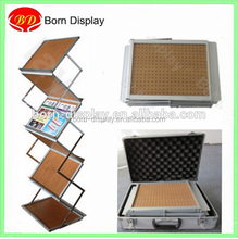 Folding Steel Fitting 7 Wooden Trays A4 Brochure Display Stand with Ocford Cloth Bag