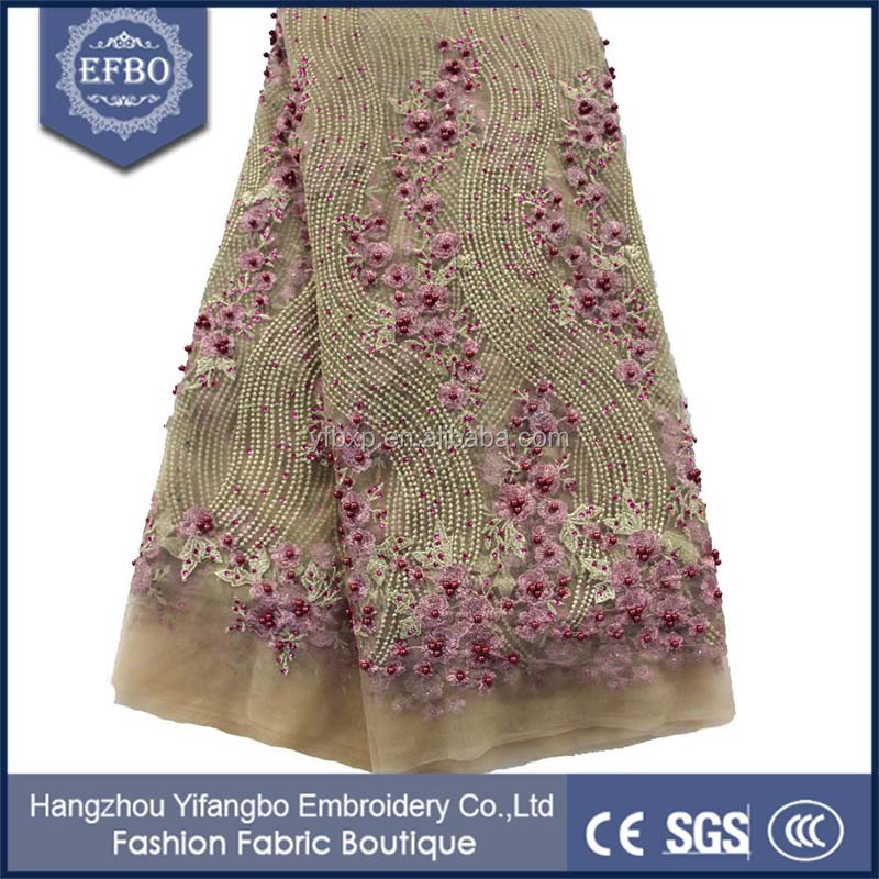 Soft flower texture expensive bridal lace fabric beaded rhinestons embellished lace fabric nigerian fashion wear net lace fabric
