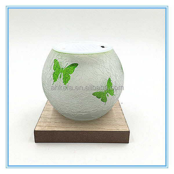 Short round glass candle holders,ball shaped crackle glass votive candle holders