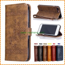 Wholesale Embossing Pattern PU Leather Flip Cell Phone Wallet Case for Apple iPhone 7 Plus With Card Slot