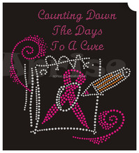 the days to a cure pink ribbon rhinestone transfer iron on