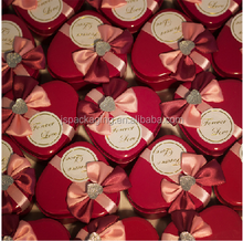 imported material heart shape tin box chocolate packaging box box with ribbon tie