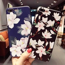 Customized Flowers Pattern 3D New Fashion Silicone Luxury Bling Bling Soft Case for iPhone Samsung