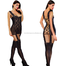 sexy corset hollowed out lace lady's lingerie sock and garters factory new design