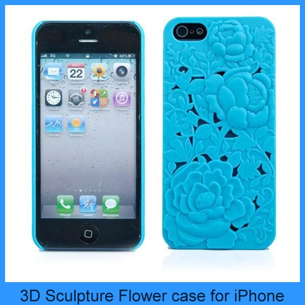 Fashion 3D Sculpture Hollow Out Design Rose Flower Hard Case Cover for iPhone 5 5G