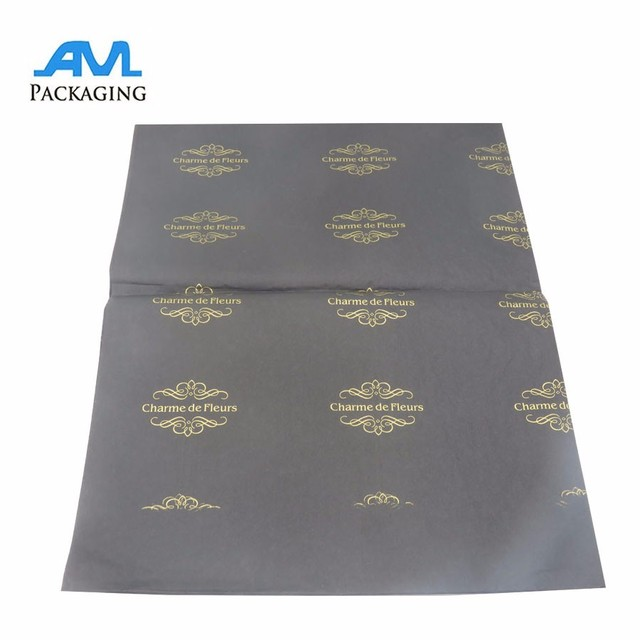 Custom black printed tissue paper with gold logo for soap wrapping