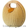 Womens Summer Hand Weave Straw Top Handle Handbag Clutches
