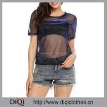 Wholesale Summer Women Fashion Blue Solid O-Neck Short Sleeve Sexy Transparent Mesh Tops