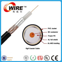 Owire RG59 OFC 0.81mm Foam PE 3.66mm AL foil + AL braiding coaxial cable with PE/PVC jacket for CATV CCTV Monitoring Systems