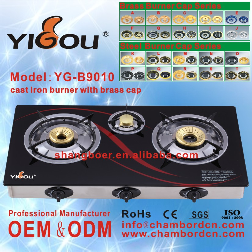 YG-B9010 3 burner china gas stove with gas stoves spare parts