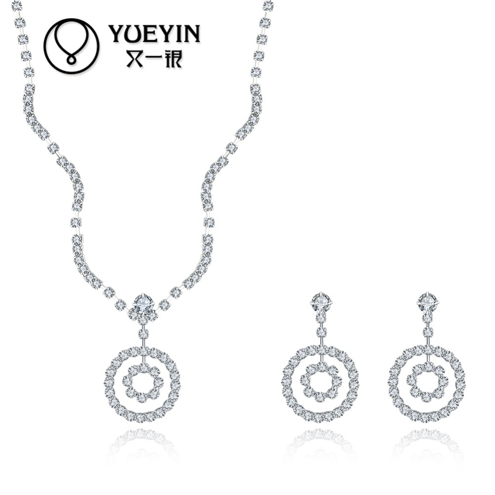 925 silver round shape jewelry set, <strong>beautiful</strong> fashion wedding jewelry set