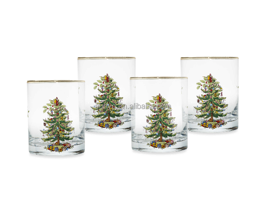 China manufacture customized high temperature christmas tree decal drinking glass tableware