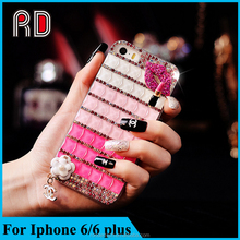 New style Fashion Bling Bling Fox Sexy lips Diamond case for iPhone 6/6 Plus