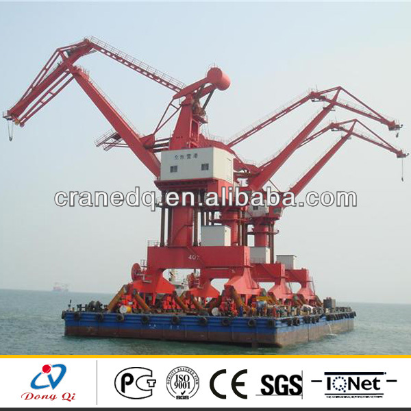 Single Jib and four link type Harbour 25t floating crane used crane barge