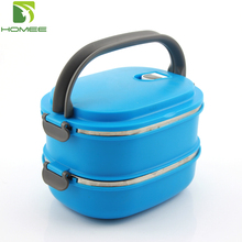 2layer stainless steel thermal lunch box plastic food carrier container
