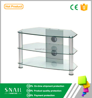 high quanlity MDF tempered glass led corner modern cheap tv stand
