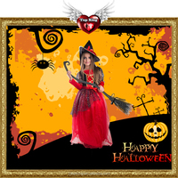 Cheap Cost Carnival Party Kids Fancy Dress Halloween Red Witch Costumes for Girls