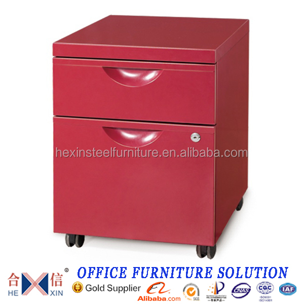 Color metal mobile cabinet with two file drawer
